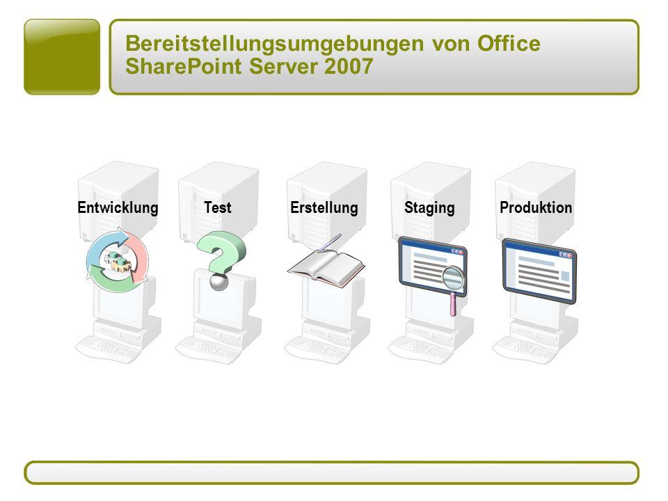Bereitstellungsumgebungen von Office SharePoint Server 2007 EntwicklungTestErstellungStagingProduktion
