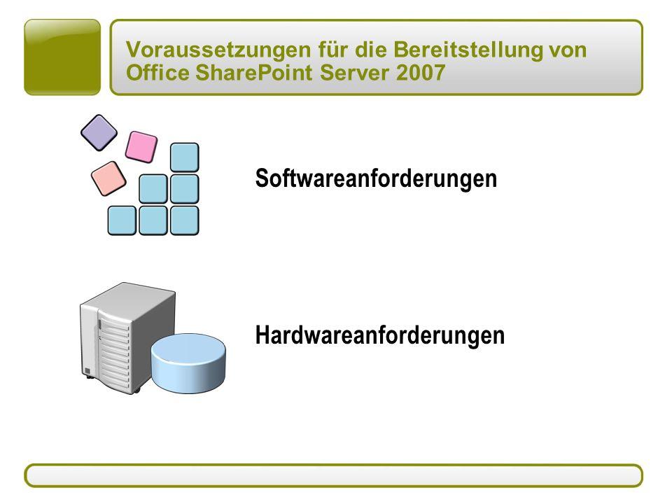 Voraussetzungen für die Bereitstellung von Office SharePoint Server 2007 Hardwareanforderungen Softwareanforderungen