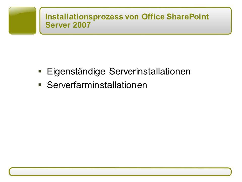 Installationsprozess von Office SharePoint Server 2007  Eigenständige Serverinstallationen  Serverfarminstallationen