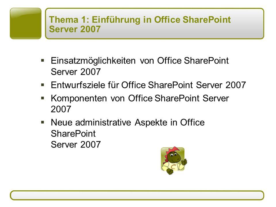Thema 1: Einführung in Office SharePoint Server 2007  Einsatzmöglichkeiten von Office SharePoint Server 2007  Entwurfsziele für Office SharePoint Server 2007  Komponenten von Office SharePoint Server 2007  Neue administrative Aspekte in Office SharePoint Server 2007