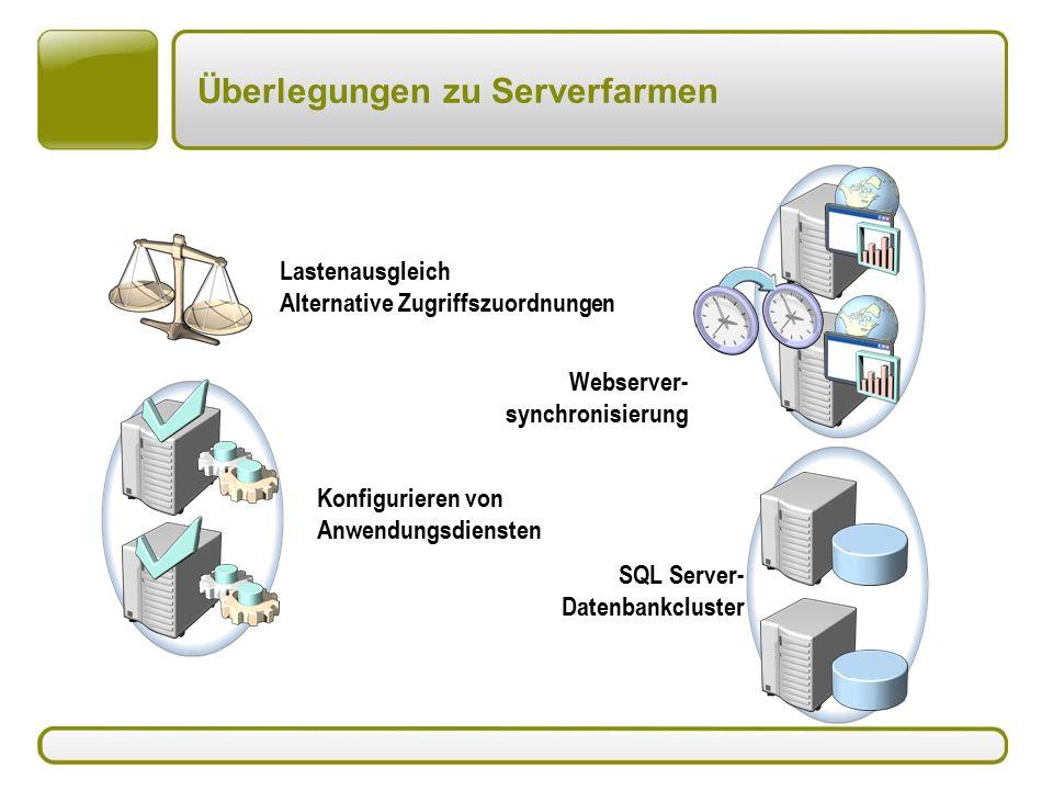 Überlegungen zu Serverfarmen Lastenausgleich Alternative Zugriffszuordnungen Webserver- synchronisierung SQL Server- Datenbankcluster Konfigurieren von Anwendungsdiensten