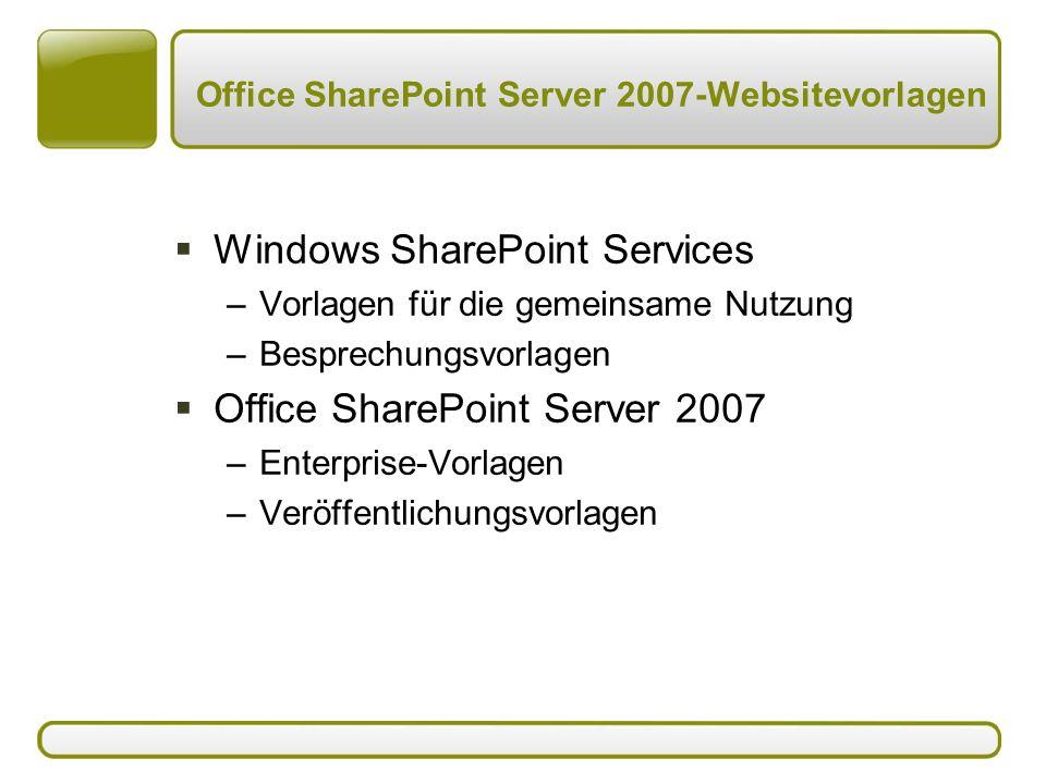 Office SharePoint Server 2007-Websitevorlagen  Windows SharePoint Services –Vorlagen für die gemeinsame Nutzung –Besprechungsvorlagen  Office SharePoint Server 2007 –Enterprise-Vorlagen –Veröffentlichungsvorlagen