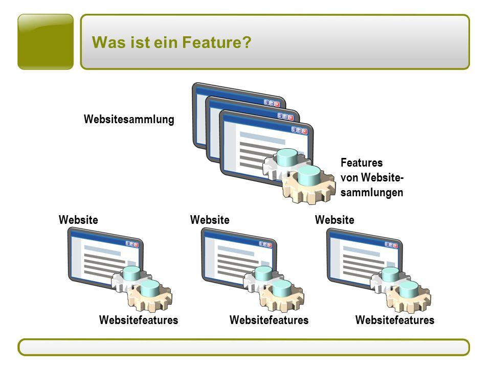 Website Was ist ein Feature? Features von Website- sammlungen Websitesammlung Website Websitefeatures