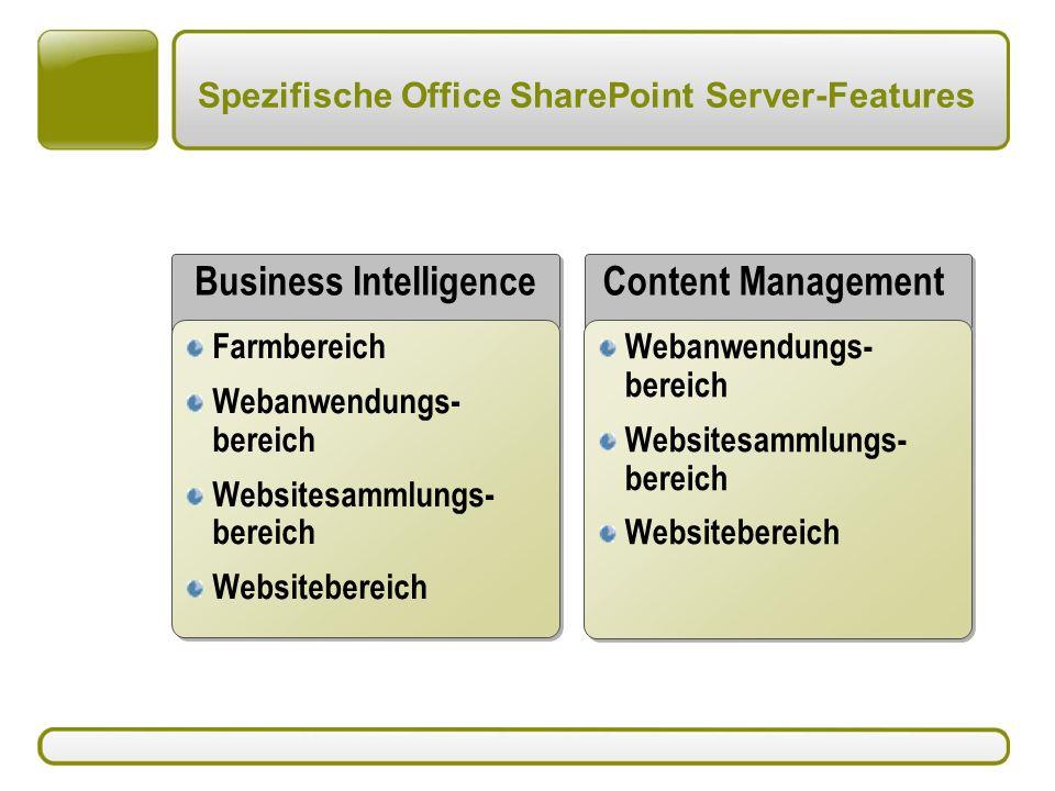Spezifische Office SharePoint Server-Features Business Intelligence Content Management Webanwendungs- bereich Websitesammlungs- bereich Websitebereich Webanwendungs- bereich Websitesammlungs- bereich Websitebereich Farmbereich Webanwendungs- bereich Websitesammlungs- bereich Websitebereich Farmbereich Webanwendungs- bereich Websitesammlungs- bereich Websitebereich