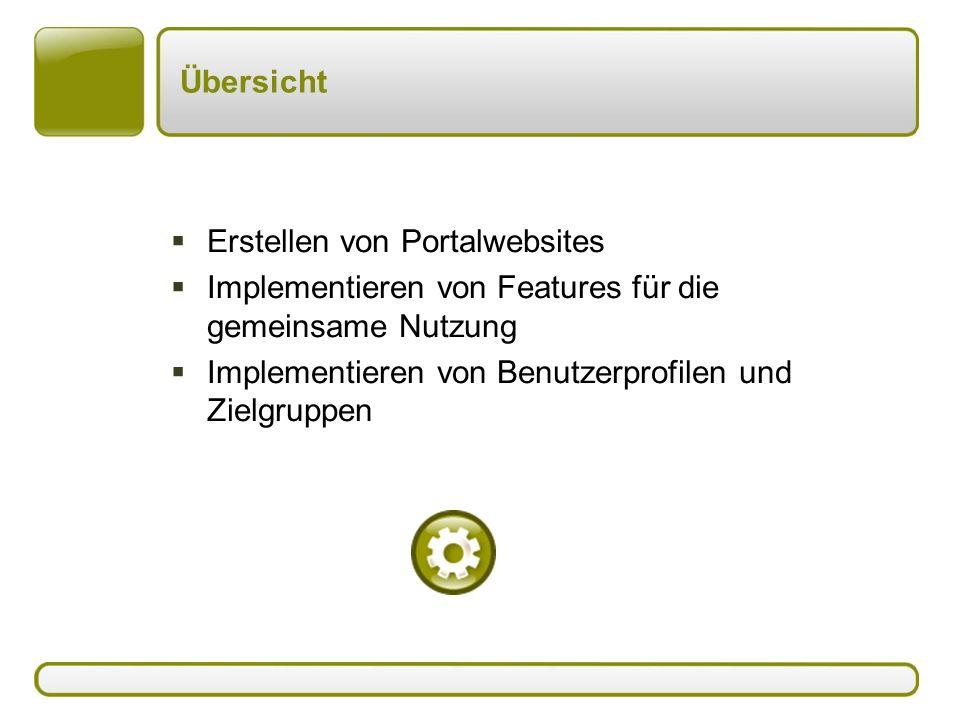 Übersicht  Erstellen von Portalwebsites  Implementieren von Features für die gemeinsame Nutzung  Implementieren von Benutzerprofilen und Zielgruppen