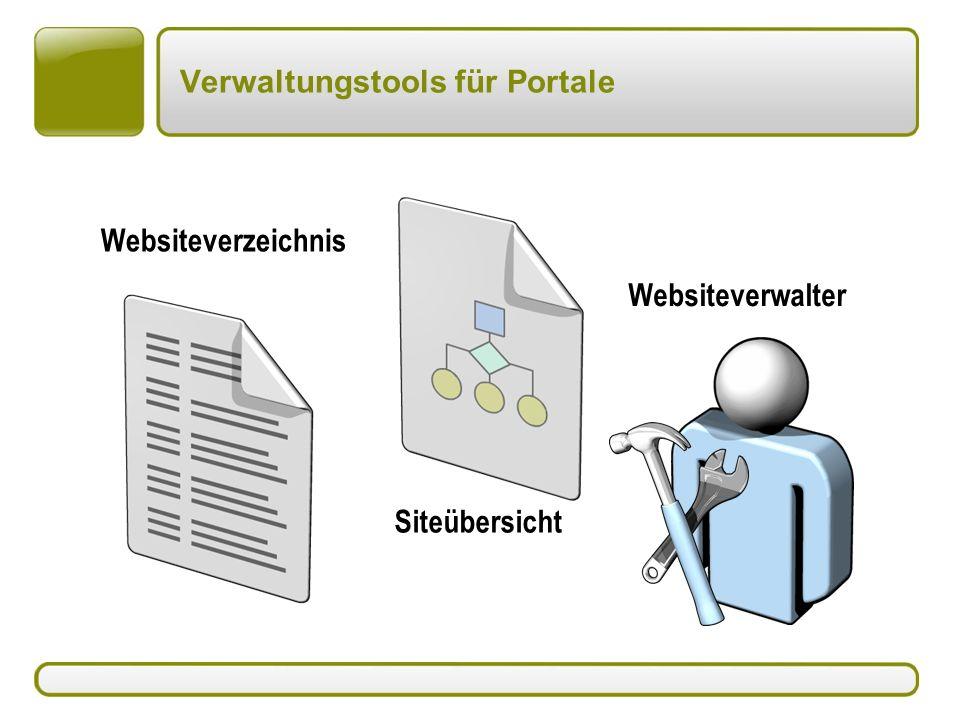 Verwaltungstools für Portale Websiteverzeichnis Siteübersicht Websiteverwalter