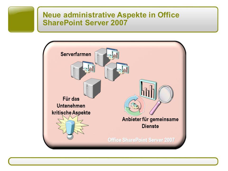 Neue administrative Aspekte in Office SharePoint Server 2007 Office SharePoint Server 2007 Anbieter für gemeinsame Dienste Für das Untenehmen kritische Aspekte Serverfarmen