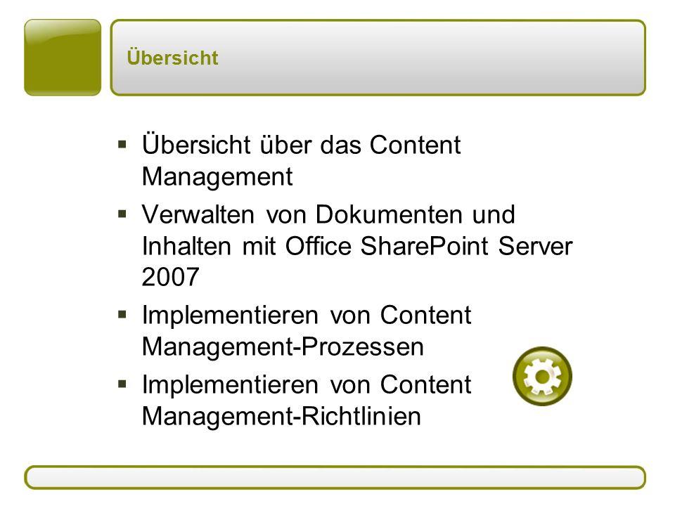 Übersicht  Übersicht über das Content Management  Verwalten von Dokumenten und Inhalten mit Office SharePoint Server 2007  Implementieren von Content Management-Prozessen  Implementieren von Content Management-Richtlinien
