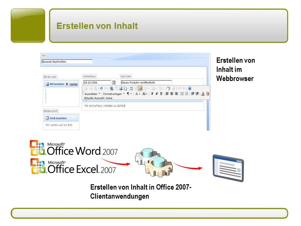Erstellen von Inhalt Erstellen von Inhalt im Webbrowser Erstellen von Inhalt in Office 2007- Clientanwendungen