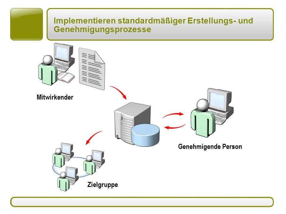 Implementieren standardmäßiger Erstellungs- und Genehmigungsprozesse Mitwirkender Zielgruppe Genehmigende Person