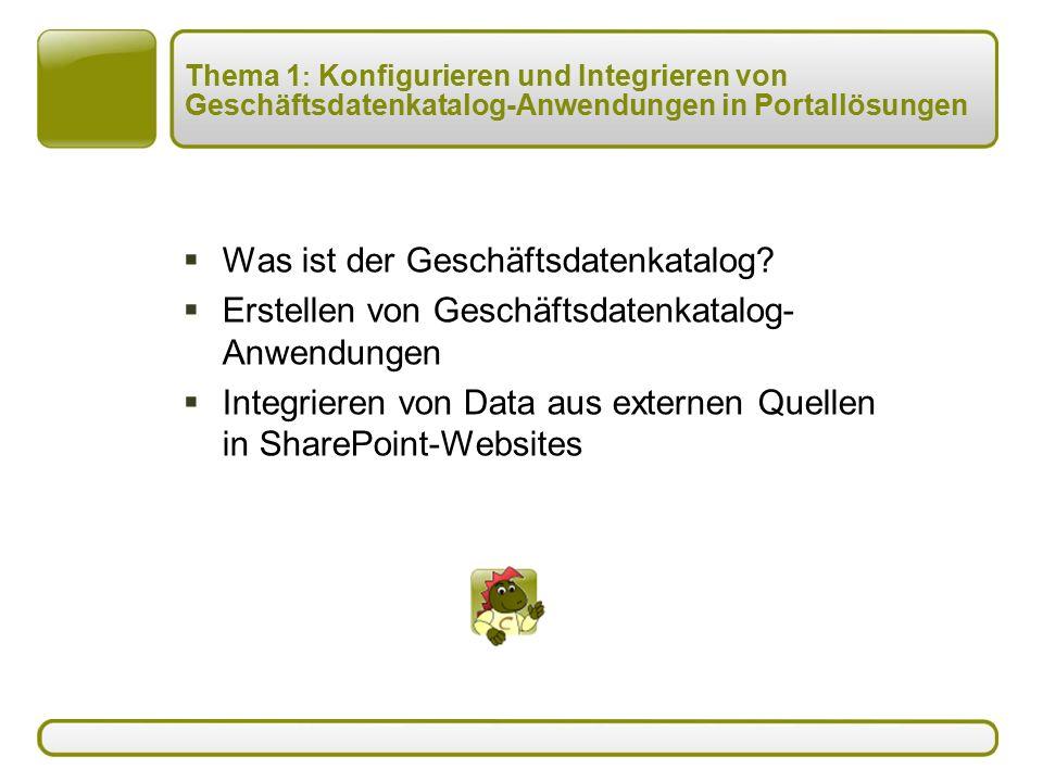 Thema 1 : Konfigurieren und Integrieren von Geschäftsdatenkatalog-Anwendungen in Portallösungen  Was ist der Geschäftsdatenkatalog.