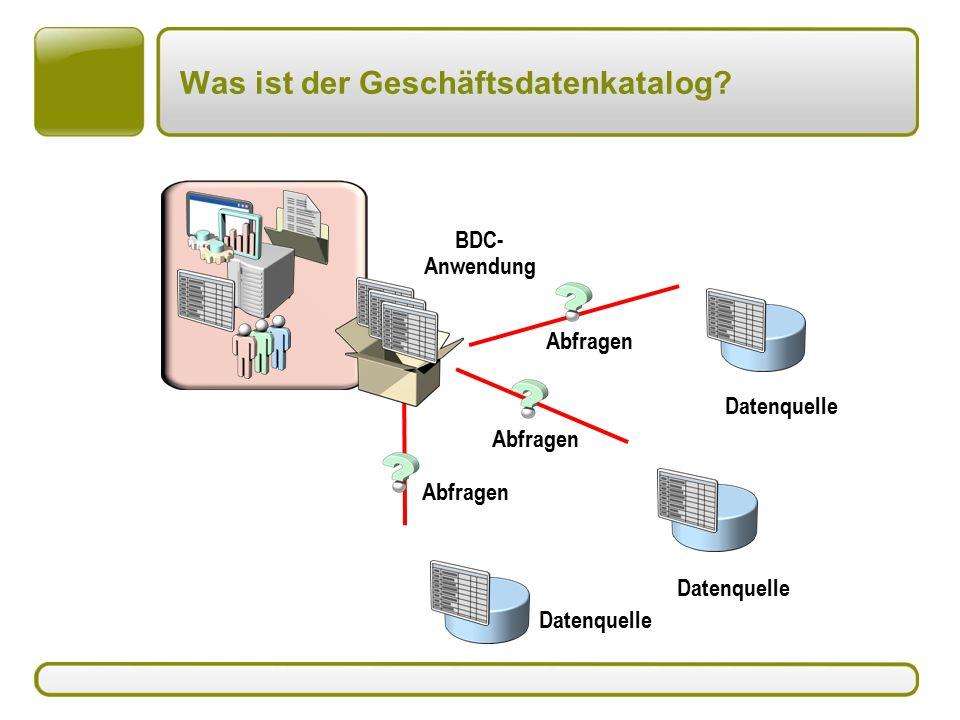 Was ist der Geschäftsdatenkatalog Datenquelle Abfragen BDC- Anwendung