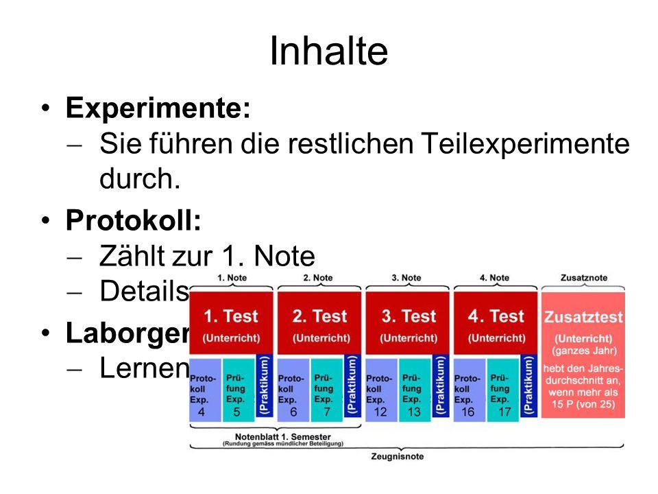 Inhalte Experimente:  Sie führen die restlichen Teilexperimente durch. Protokoll:  Zählt zur 1. Note  Details heute Laborgeräte:  Lernen Sie gleic