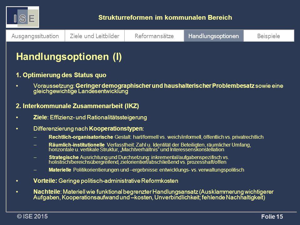 © ISE 2015 Strukturreformen im kommunalen Bereich Folie 15 1.