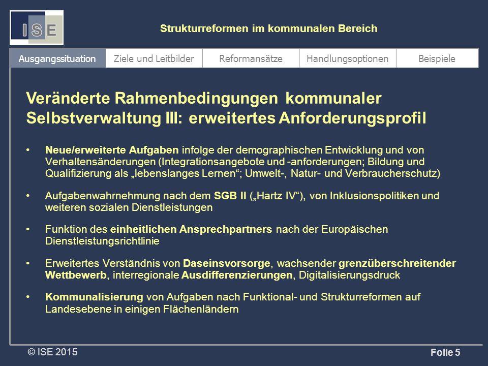 """© ISE 2015 Strukturreformen im kommunalen Bereich Folie 5 Neue/erweiterte Aufgaben infolge der demographischen Entwicklung und von Verhaltensänderungen (Integrationsangebote und -anforderungen; Bildung und Qualifizierung als """"lebenslanges Lernen ; Umwelt-, Natur- und Verbraucherschutz) Aufgabenwahrnehmung nach dem SGB II (""""Hartz IV ), von Inklusionspolitiken und weiteren sozialen Dienstleistungen Funktion des einheitlichen Ansprechpartners nach der Europäischen Dienstleistungsrichtlinie Erweitertes Verständnis von Daseinsvorsorge, wachsender grenzüberschreitender Wettbewerb, interregionale Ausdifferenzierungen, Digitalisierungsdruck Kommunalisierung von Aufgaben nach Funktional- und Strukturreformen auf Landesebene in einigen Flächenländern Veränderte Rahmenbedingungen kommunaler Selbstverwaltung III: erweitertes Anforderungsprofil AusgangssituationZiele und LeitbilderReformansätzeHandlungsoptionenBeispiele"""