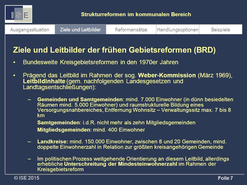 """© ISE 2015 Strukturreformen im kommunalen Bereich Konsequenzen für Thüringen Thüringen hat kein Erkenntnis-, sondern ein Handlungsdefizit, zumal das Land verwaltungsstrukturell derzeit das """"Schlusslicht unter den Flächenländern bildet Die Überprüfung der Verwaltungsstrukturen (als der Basis des öffentlichen Handelns) ist eine Aufgabe aller politischen Parteien Sie ist aufgrund der haushalterischen und demographischen Rahmenbedingungen sowie der Entwicklungsprognosen unausweichlich Das Leitbild (1."""