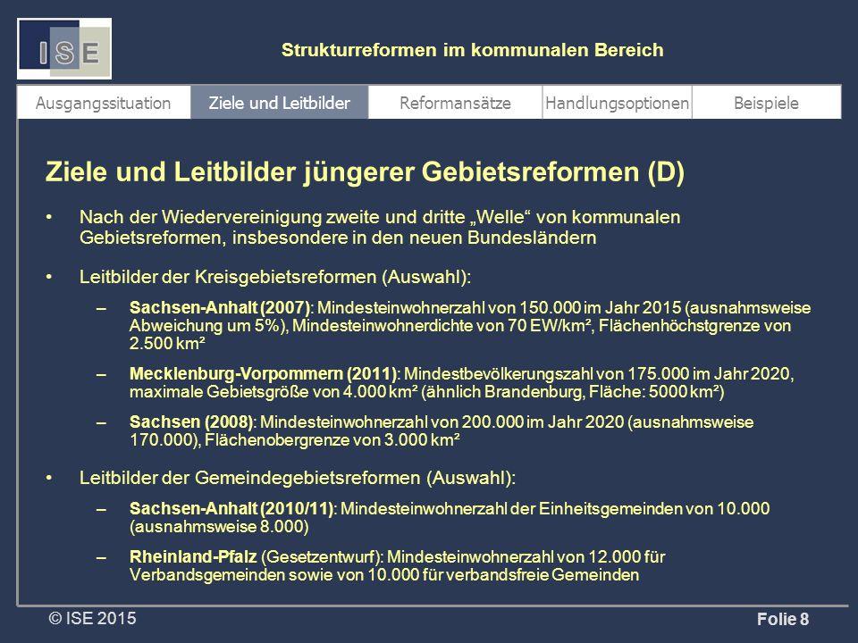 """© ISE 2015 Strukturreformen im kommunalen Bereich Folie 8 Nach der Wiedervereinigung zweite und dritte """"Welle von kommunalen Gebietsreformen, insbesondere in den neuen Bundesländern Leitbilder der Kreisgebietsreformen (Auswahl): –Sachsen-Anhalt (2007): Mindesteinwohnerzahl von 150.000 im Jahr 2015 (ausnahmsweise Abweichung um 5%), Mindesteinwohnerdichte von 70 EW/km², Flächenhöchstgrenze von 2.500 km² –Mecklenburg-Vorpommern (2011): Mindestbevölkerungszahl von 175.000 im Jahr 2020, maximale Gebietsgröße von 4.000 km² (ähnlich Brandenburg, Fläche: 5000 km²) –Sachsen (2008): Mindesteinwohnerzahl von 200.000 im Jahr 2020 (ausnahmsweise 170.000), Flächenobergrenze von 3.000 km² Leitbilder der Gemeindegebietsreformen (Auswahl): –Sachsen-Anhalt (2010/11): Mindesteinwohnerzahl der Einheitsgemeinden von 10.000 (ausnahmsweise 8.000) –Rheinland-Pfalz (Gesetzentwurf): Mindesteinwohnerzahl von 12.000 für Verbandsgemeinden sowie von 10.000 für verbandsfreie Gemeinden Ziele und Leitbilder jüngerer Gebietsreformen (D) AusgangssituationZiele und LeitbilderReformansätzeHandlungsoptionenBeispiele"""