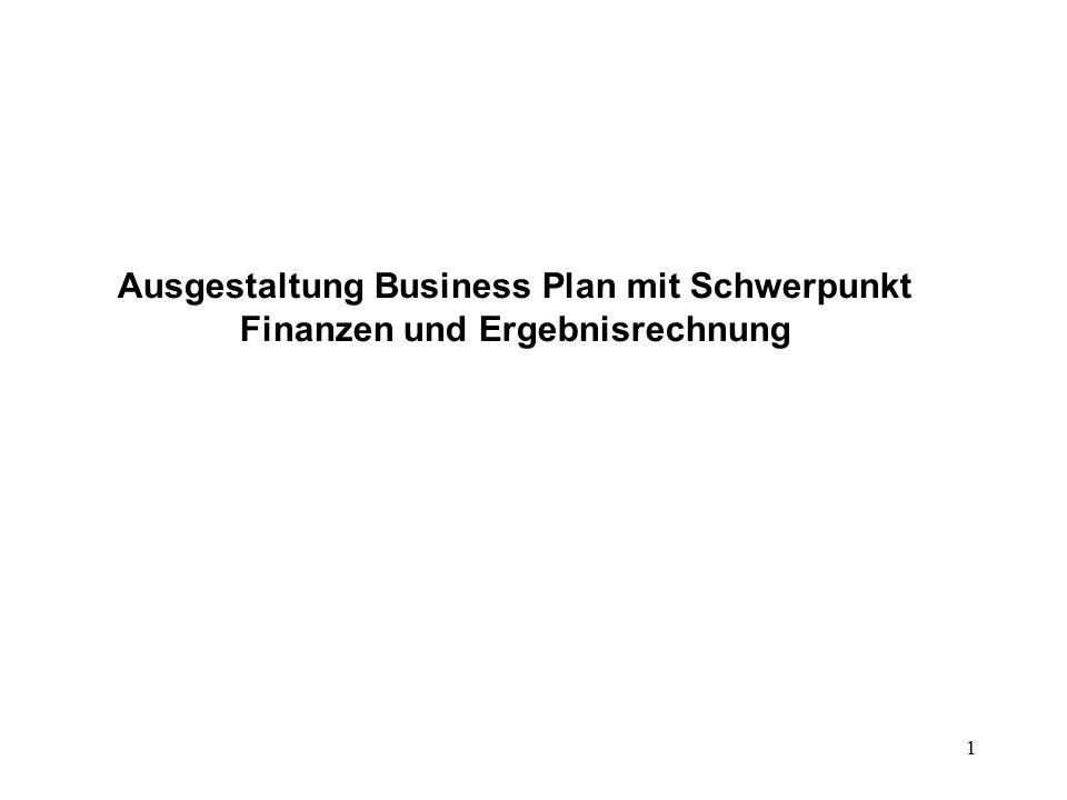 1 Ausgestaltung Business Plan mit Schwerpunkt Finanzen und Ergebnisrechnung