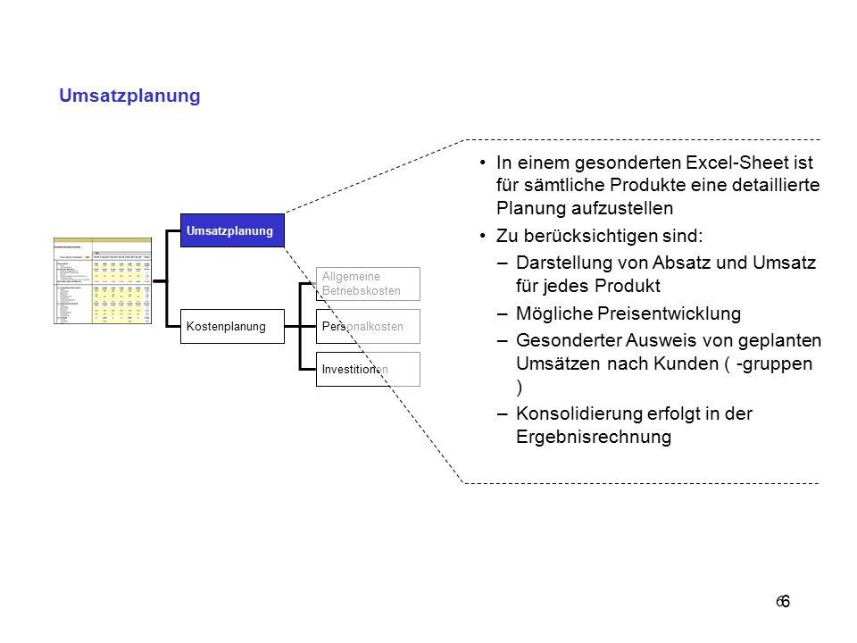 7 Planungsansätze Die Bottom-Up-Planung kommt vor allem bei der Marktanalyse und Umsatzplanung zur Anwendung und stellt eine Erweiterung der Top-down-Planung dar.