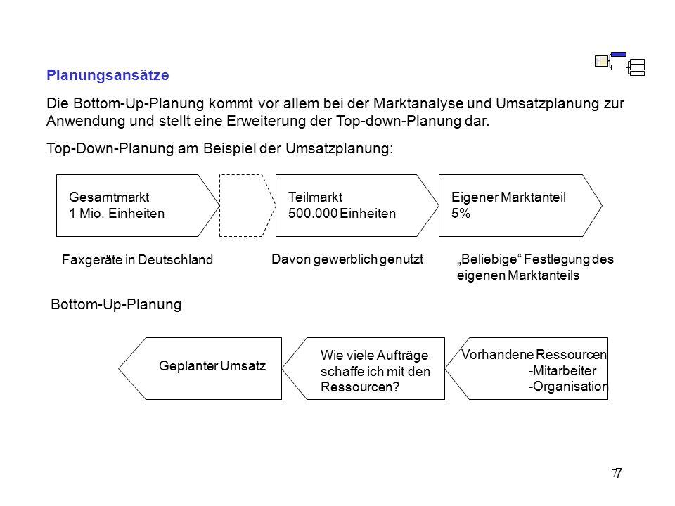 7 Planungsansätze Die Bottom-Up-Planung kommt vor allem bei der Marktanalyse und Umsatzplanung zur Anwendung und stellt eine Erweiterung der Top-down-