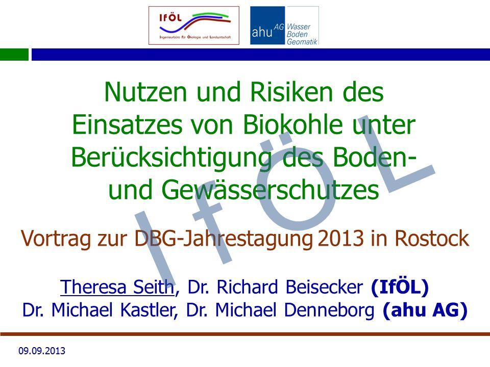 09.09.2013 Nutzen und Risiken des Einsatzes von Biokohle unter Berücksichtigung des Boden- und Gewässerschutzes Vortrag zur DBG-Jahrestagung 2013 in R