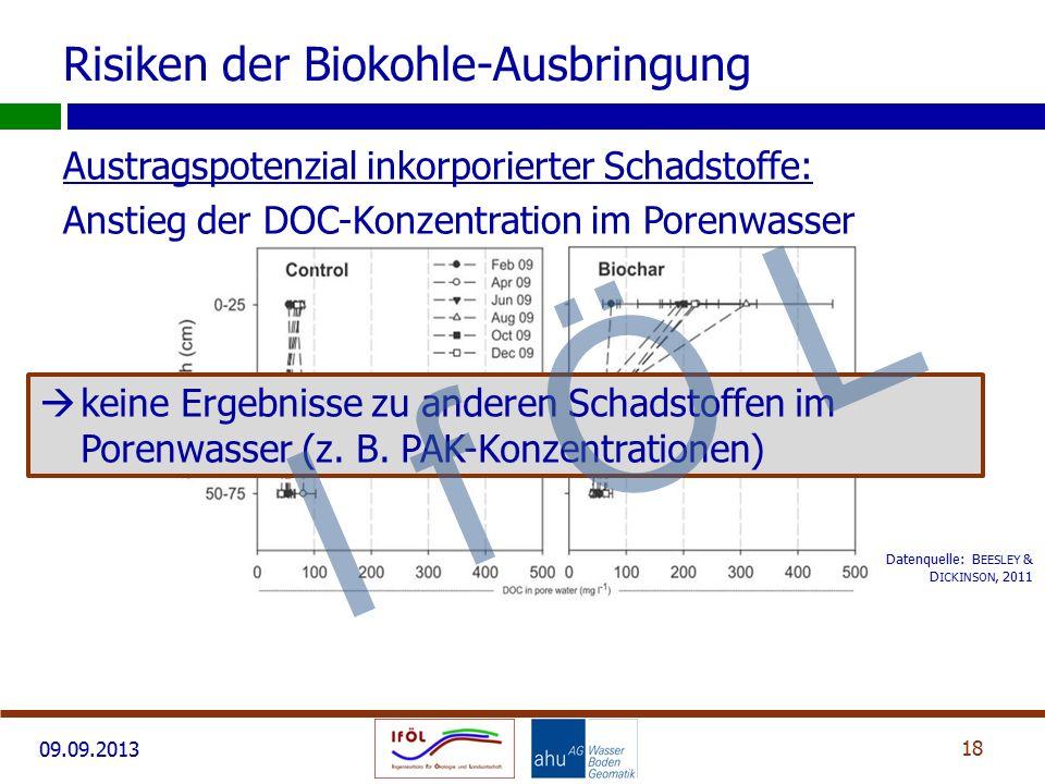 09.09.2013 Austragspotenzial inkorporierter Schadstoffe: Anstieg der DOC-Konzentration im Porenwasser 18 Datenquelle: B EESLEY & D ICKINSON, 2011 Risi