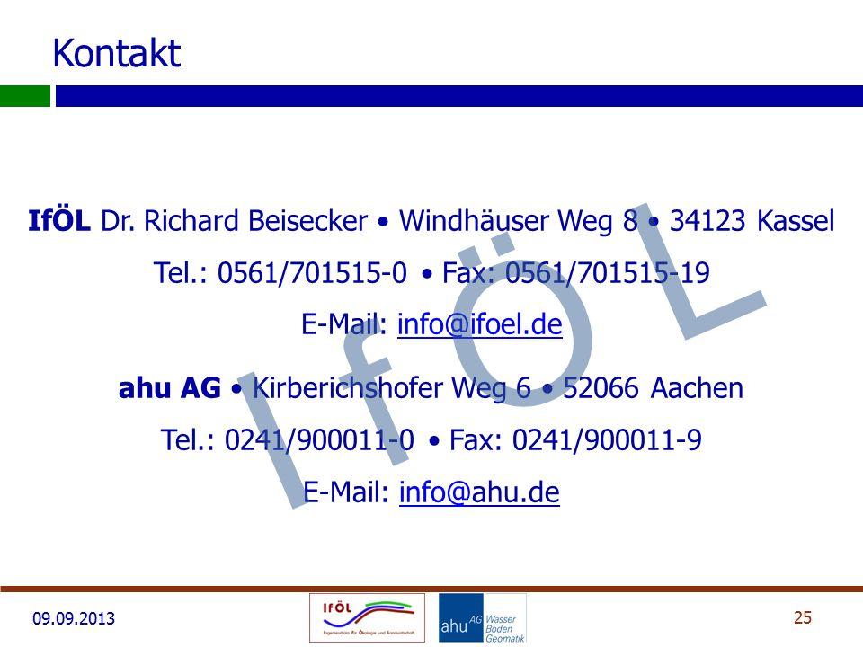 09.09.2013 25 Kontakt IfÖL Dr. Richard Beisecker Windhäuser Weg 8 34123 Kassel Tel.: 0561/701515-0 Fax: 0561/701515-19 E-Mail: info@ifoel.deinfo@ifoel