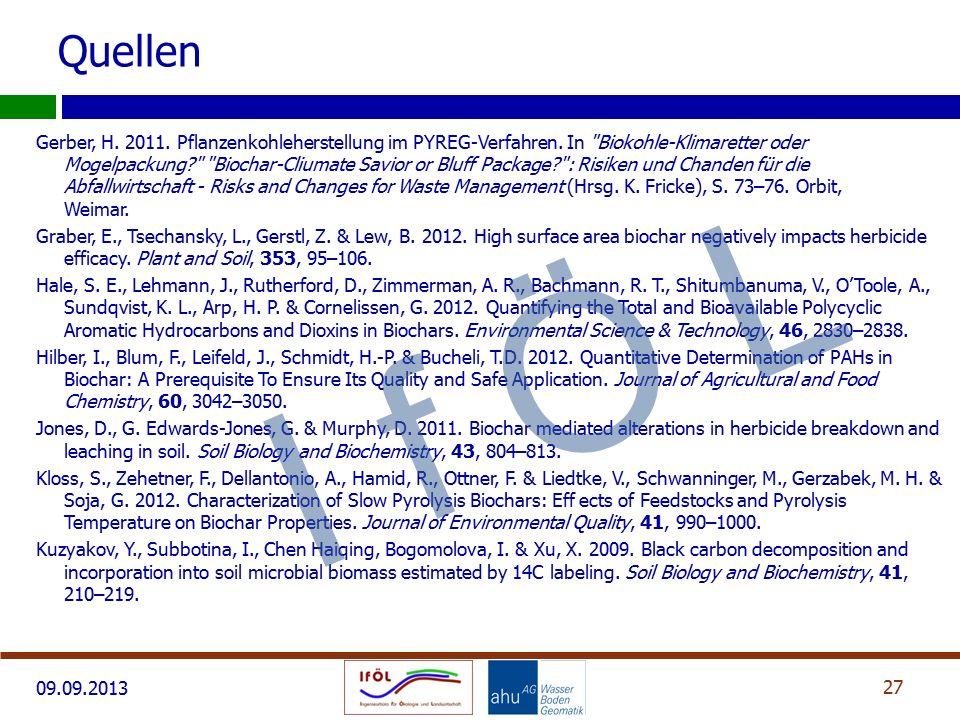 09.09.2013 Gerber, H.2011. Pflanzenkohleherstellung im PYREG-Verfahren.