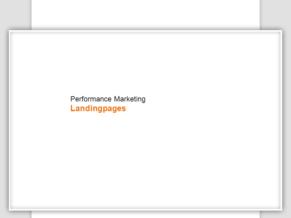 Performance Marketing Landingpages