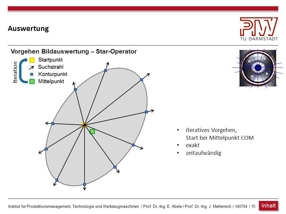 Institut für Produktionsmanagement, Technologie und Werkzeugmaschinen   Prof. Dr.-Ing. E. Abele / Prof. Dr.-Ing. J. Metternich   140704   14 Auswertun