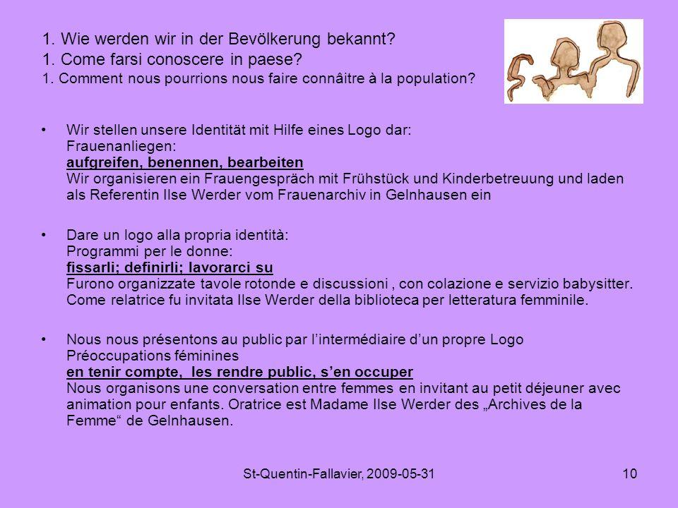St-Quentin-Fallavier, 2009-05-3110 Wir stellen unsere Identität mit Hilfe eines Logo dar: Frauenanliegen: aufgreifen, benennen, bearbeiten Wir organisieren ein Frauengespräch mit Frühstück und Kinderbetreuung und laden als Referentin Ilse Werder vom Frauenarchiv in Gelnhausen ein Dare un logo alla propria identità: Programmi per le donne: fissarli; definirli; lavorarci su Furono organizzate tavole rotonde e discussioni, con colazione e servizio babysitter.