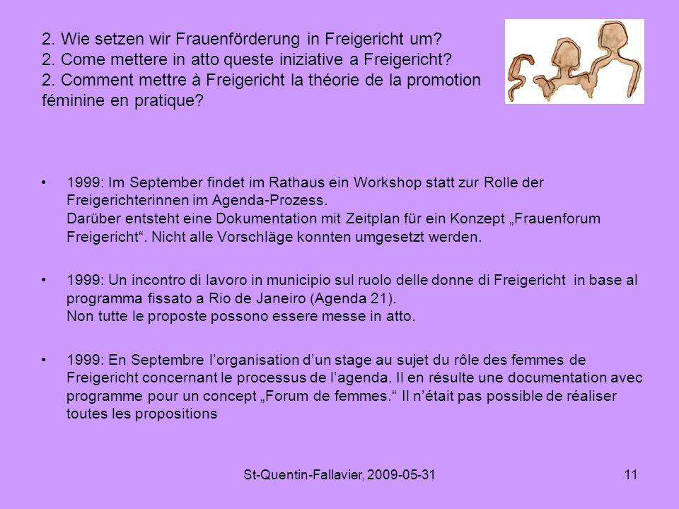 St-Quentin-Fallavier, 2009-05-3111 1999: Im September findet im Rathaus ein Workshop statt zur Rolle der Freigerichterinnen im Agenda-Prozess.