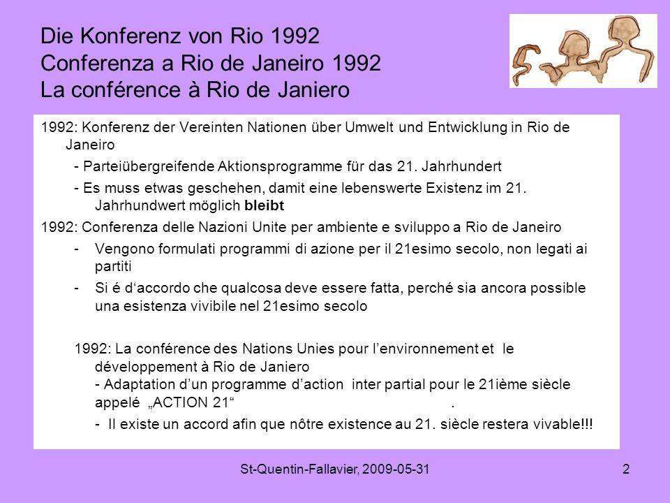 St-Quentin-Fallavier, 2009-05-312 Die Konferenz von Rio 1992 Conferenza a Rio de Janeiro 1992 La conférence à Rio de Janiero 1992: Konferenz der Vereinten Nationen über Umwelt und Entwicklung in Rio de Janeiro - Parteiübergreifende Aktionsprogramme für das 21.
