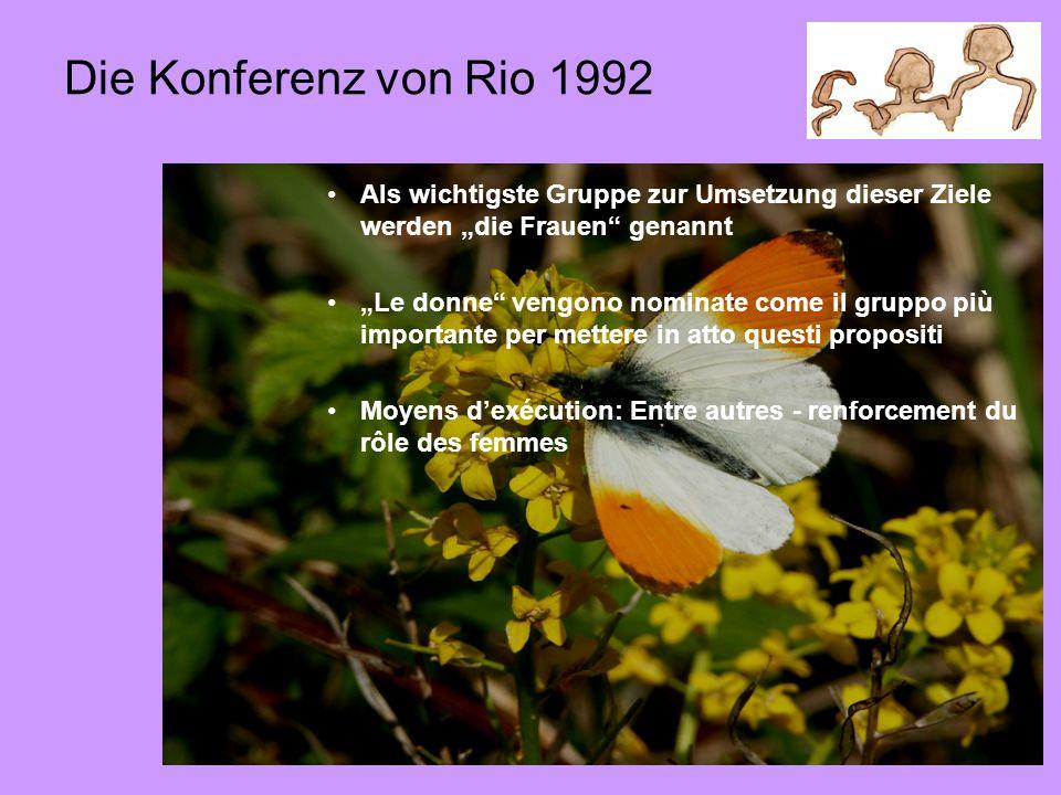 """St-Quentin-Fallavier, 2009-05-314 Die Konferenz von Rio 1992 Als wichtigste Gruppe zur Umsetzung dieser Ziele werden """"die Frauen genannt """"Le donne vengono nominate come il gruppo più importante per mettere in atto questi propositi Moyens d'exécution: Entre autres - renforcement du rôle des femmes"""
