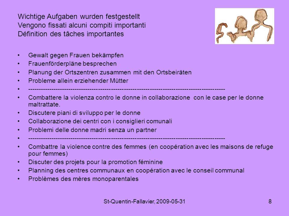 St-Quentin-Fallavier, 2009-05-318 Gewalt gegen Frauen bekämpfen Frauenförderpläne besprechen Planung der Ortszentren zusammen mit den Ortsbeiräten Probleme allein erziehender Mütter -------------------------------------------------------------------------------------------- Combattere la violenza contro le donne in collaborazione con le case per le donne maltrattate.