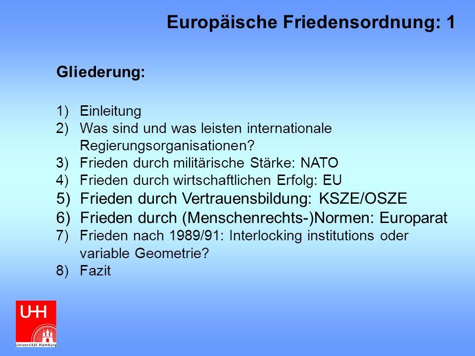 6)Frieden durch (Menschenrechts-) Normen: Europarat Gründungsjahr: 1949 Historischer Hintergrund: 2.