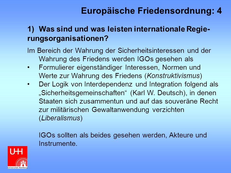 """8)Fazit Die """"pluralistische Sicherheitsgemeinschaft in Europa nach 1989/91 wird durch den Bedeutungsverlust von Europarat und OSZE geschwächt Viele Fragen bleiben offen: Abgrenzung: Wer gehört zu Europa."""
