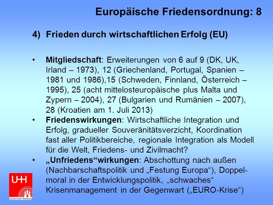 4)Frieden durch wirtschaftlichen Erfolg (EU) Mitgliedschaft: Erweiterungen von 6 auf 9 (DK, UK, Irland – 1973), 12 (Griechenland, Portugal, Spanien – 1981 und 1986),15 (Schweden, Finnland, Österreich – 1995), 25 (acht mittelosteuropäische plus Malta und Zypern – 2004), 27 (Bulgarien und Rumänien – 2007), 28 (Kroatien am 1.