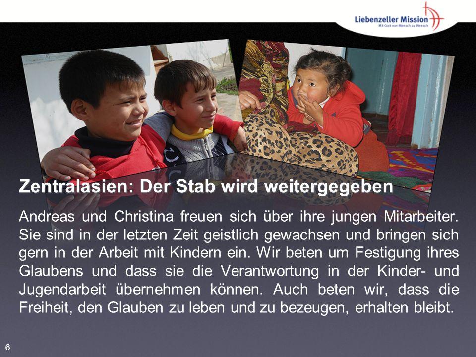 Zentralasien: Der Stab wird weitergegeben Andreas und Christina freuen sich über ihre jungen Mitarbeiter.