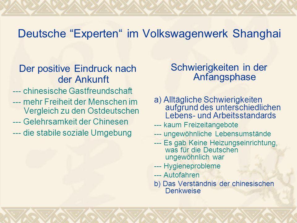 """Deutsche """"Experten"""" im Volkswagenwerk Shanghai Der positive Eindruck nach der Ankunft --- chinesische Gastfreundschaft --- mehr Freiheit der Menschen"""