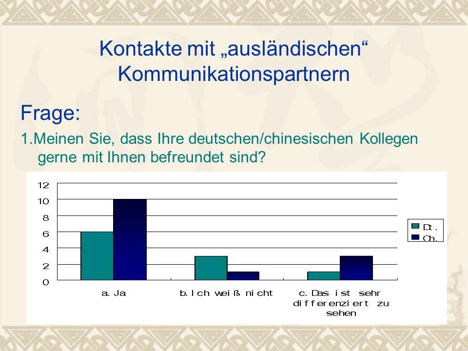 """Kontakte mit """"ausländischen"""" Kommunikationspartnern Frage: 1.Meinen Sie, dass Ihre deutschen/chinesischen Kollegen gerne mit Ihnen befreundet sind?"""