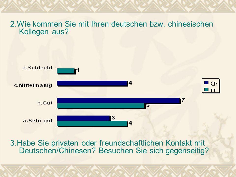 2.Wie kommen Sie mit Ihren deutschen bzw. chinesischen Kollegen aus? 3.Habe Sie privaten oder freundschaftlichen Kontakt mit Deutschen/Chinesen? Besuc