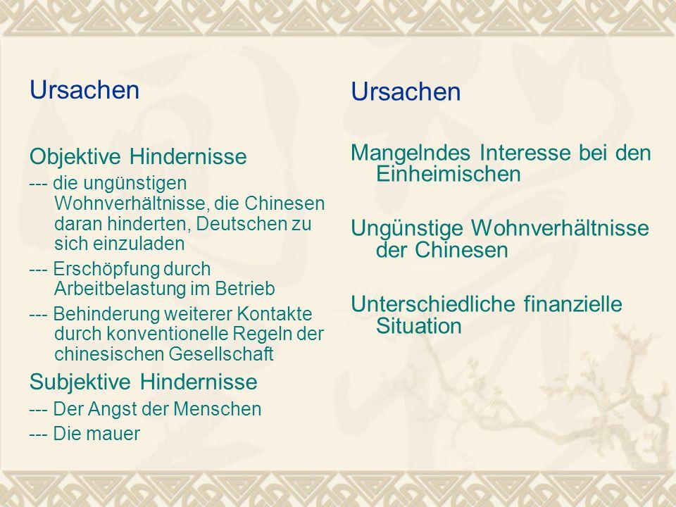 Ursachen Objektive Hindernisse --- die ungünstigen Wohnverhältnisse, die Chinesen daran hinderten, Deutschen zu sich einzuladen --- Erschöpfung durch
