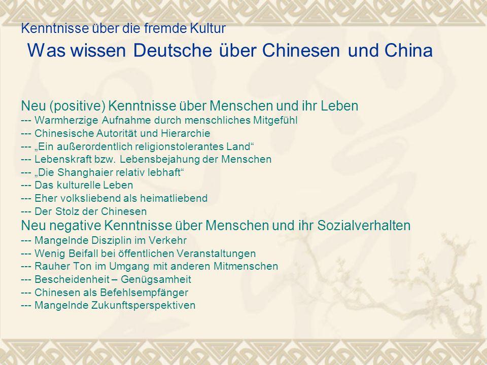 Kenntnisse über die fremde Kultur Was wissen Deutsche über Chinesen und China Neu (positive) Kenntnisse über Menschen und ihr Leben --- Warmherzige Au