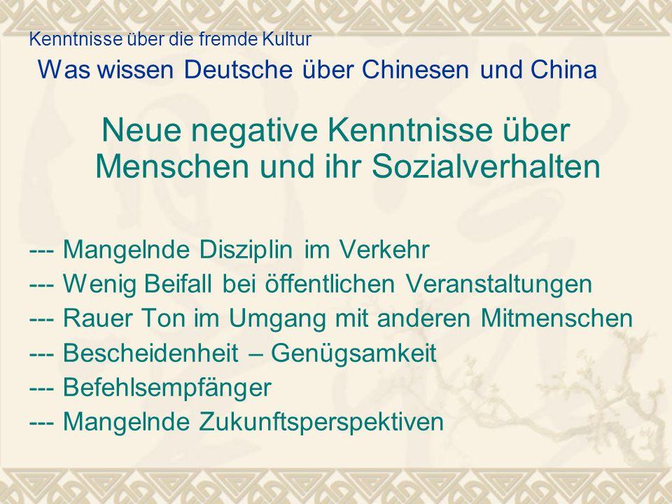 Kenntnisse über die fremde Kultur Was wissen Deutsche über Chinesen und China Neue negative Kenntnisse über Menschen und ihr Sozialverhalten --- Mange