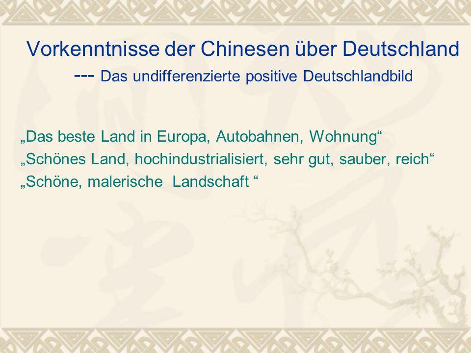 """Vorkenntnisse der Chinesen über Deutschland --- Das undifferenzierte positive Deutschlandbild """"Das beste Land in Europa, Autobahnen, Wohnung"""" """"Schönes"""