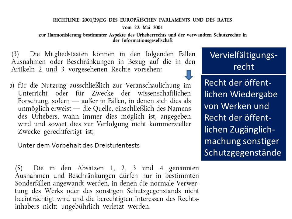 Vervielfältigungs- recht Recht der öffent- lichen Wiedergabe von Werken und Recht der öffent- lichen Zugänglich- machung sonstiger Schutzgegenstände Unter dem Vorbehalt des Dreistufentests