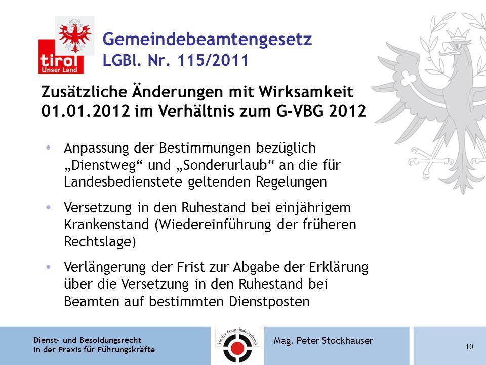 Dienst- und Besoldungsrecht in der Praxis für Führungskräfte 10 Mag. Peter Stockhauser Gemeindebeamtengesetz LGBl. Nr. 115/2011 Zusätzliche Änderungen