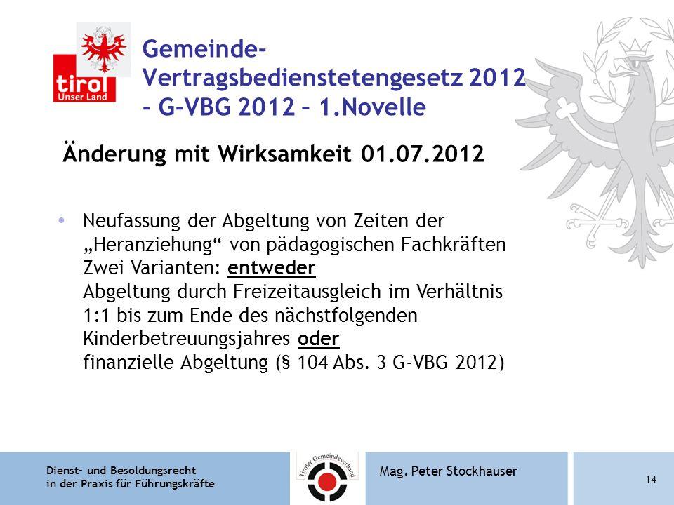Dienst- und Besoldungsrecht in der Praxis für Führungskräfte 14 Mag. Peter Stockhauser Gemeinde- Vertragsbedienstetengesetz 2012 - G-VBG 2012 – 1.Nove
