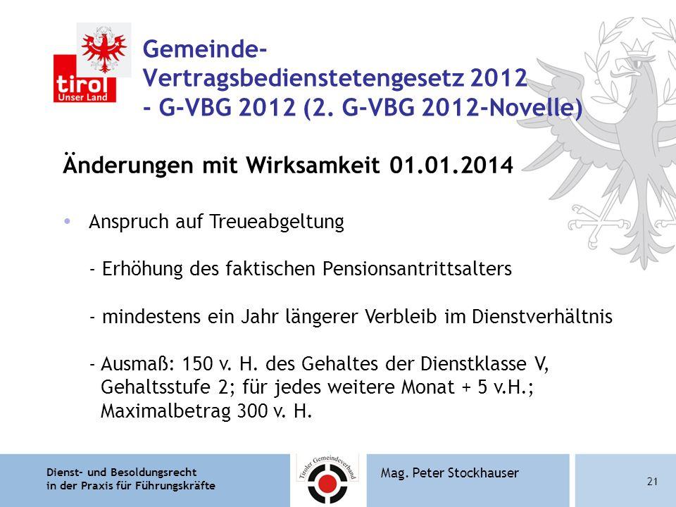 Dienst- und Besoldungsrecht in der Praxis für Führungskräfte 21 Mag. Peter Stockhauser Gemeinde- Vertragsbedienstetengesetz 2012 - G-VBG 2012 (2. G-VB